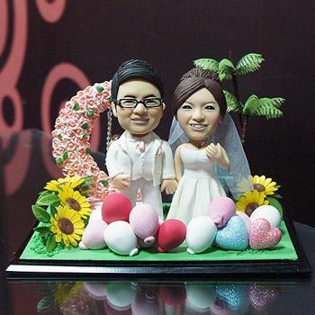 月亮氣球浪漫結婚場景公仔(含防塵框)
